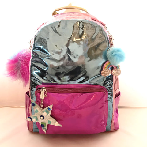 Full Size Blue/Pink/Fuchsia Hologram Backpack