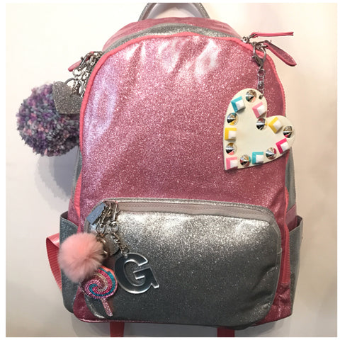 Full Size Pink/Silver Glitter Backpack