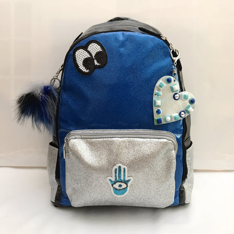 Full Size Royal Blue/Silver/Black Glitter Backpack