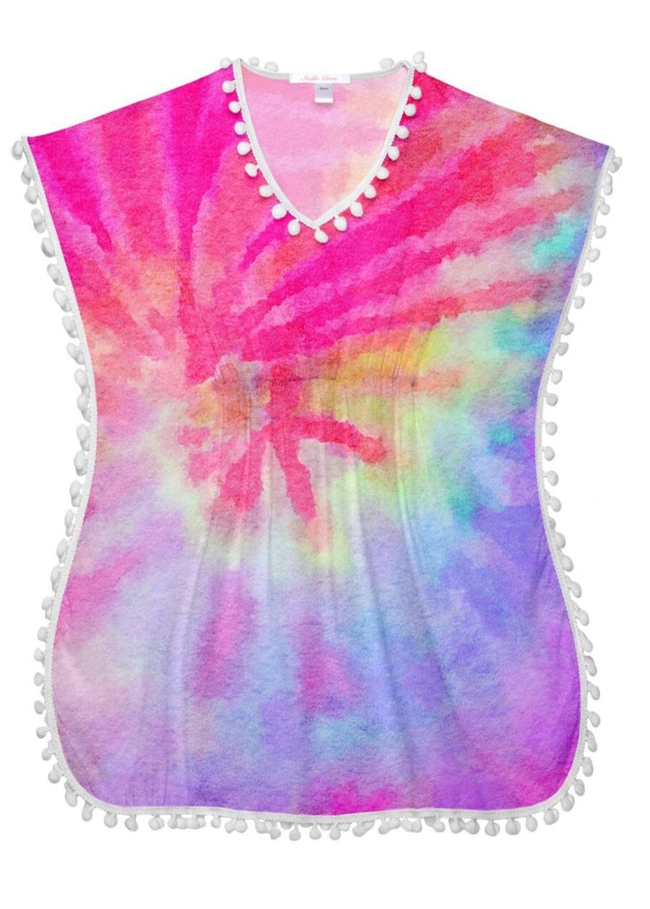 Pink Tie Dye Cover-Up Poncho