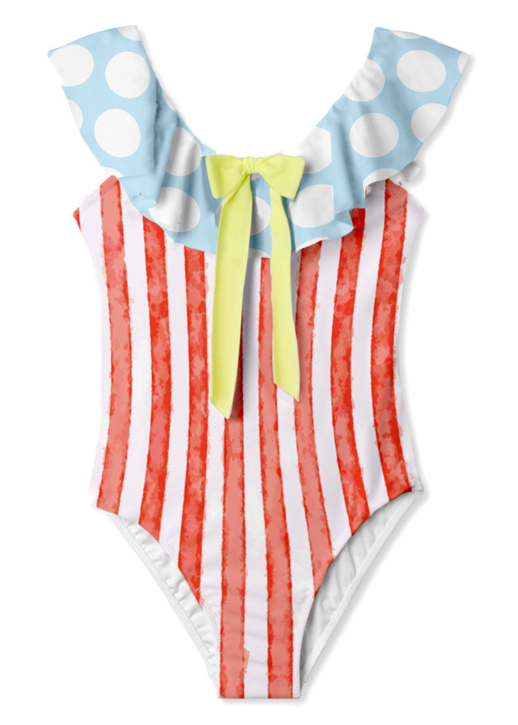 Red and White Striped Bow Swimsuit