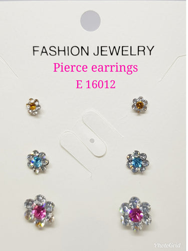 3 pairs in 1 Pierce Crystals Earrings: E 16012
