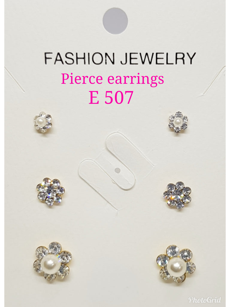 3pairs in 1 Pierce Crystals & Pearl Flower Earrings: E 507