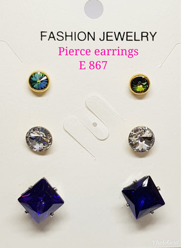 3 pairs in 1 Pierce crystals Assorted Earrings: E 867