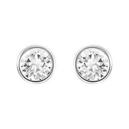 Swarovski Clear Crystal Solitaire Studs Pierced Earrings Rhodium