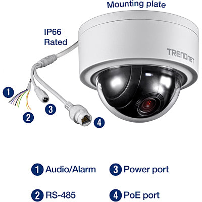 Trendnet Indoor / Outdoor 3 MP Motorized Dome Network Camera