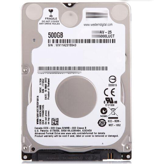 "Western Digital 2.5"" Int HDD 500GB (AV-25)*"