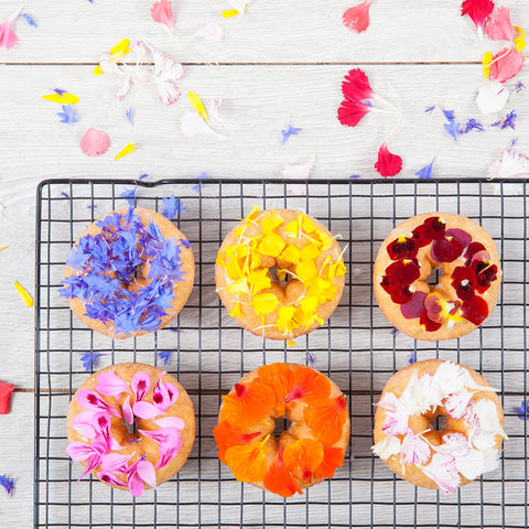 American Style Glazed Doughnuts with Edible Flowers