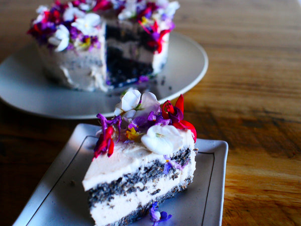 Raw Vegan Charcoal Layered Cake with Butterscotch Cream