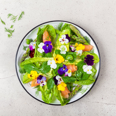 Baked Salmon Salad with Spring Vegetables and Edible Flowers