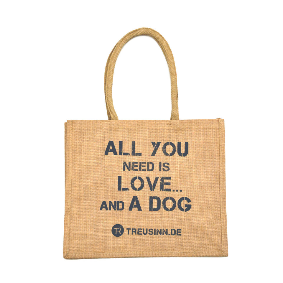 "Treusinn | Eco Shopper Jute - ""All you need is love... and a dog"" - Hund von Eden"