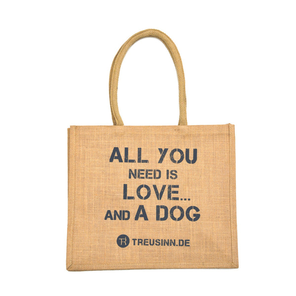 "Eco Shopper Jute - ""All you need is love... and a dog"""