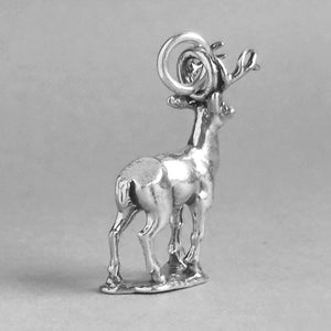 Deer stag charm sterling silver pendant