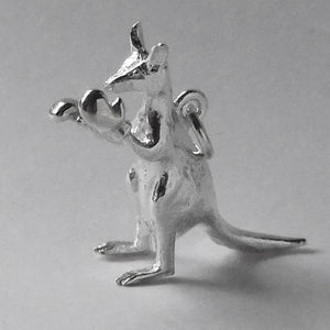 Kangaroo wearing boxing gloves charm sterling silver