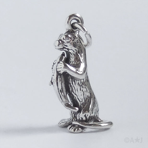 Otter charm 925 sterling silver pendant charmarama otter with fish charm aloadofball Images