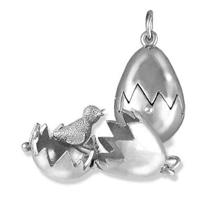 Sterling Silver Chick Hatching from Bird Egg Charm Pendant