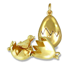 Gold Chick Hatching from Bird Egg Charm Pendant