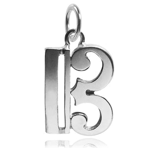 Sterling silver alto clef musical note charm pendant