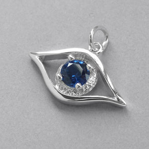 Evil Eye Charm Sterling Silver Blue Crystal Luck