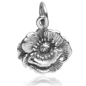 Sterling Silver Poppy Flower Charm