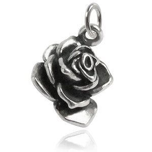 Rose Flower Charm Sterling Silver Pendant