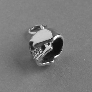 Tiny Sterling Silver Human Skull Charm