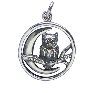 Owl and Moon Charm Sterling Silver Pendant | Charmarama