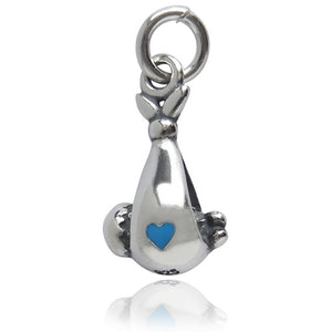 Baby in Sling Sterling silver with Enamel Pink or Blue Heart | Charmarama