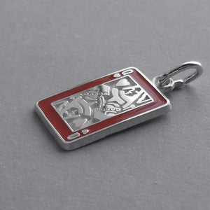 Enamel playing card charm sterling silver 925 or gold pendant