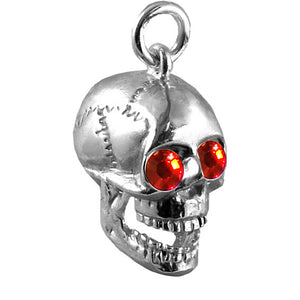 Human Skull with Crystal Eyes Charm