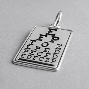 Optometrist eye chart charm sterling silver 925 or gold pendant