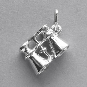 Binoculars Charm Sterling Silver or Gold Pendant