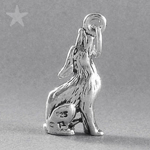 Coyote Charm Sterling Silver 925 Animal Pendant