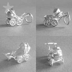 Moving Pram Baby Carriage Charm in Sterling Silver or Gold | Charmarama