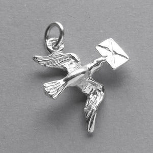 Messenger Bird Charm Sterling Silver Dove of Love Pendant | Charmarama