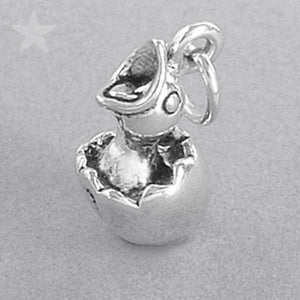 Sterling Silver Baby Bird Hatching from Egg Charm Pendant