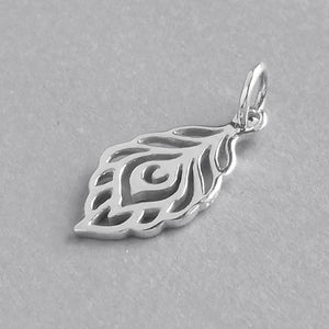 Peacock Feather Charm Sterling Silver Bird Pendant | Charmarama