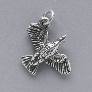 Goose flying charm sterling silver bird pendant | Charmarama