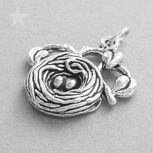 Sterling Silver Bird Nest and Eggs Charm Pendant