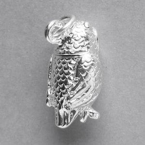 Owl charm sterling silver 925 or gold bird pendant