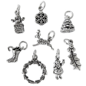 Set of Sterling Silver Christmas Charms