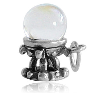 Crystal Ball Charm Pendant Sterling Silver
