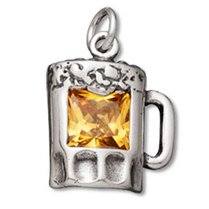 Beer Glass Charm Pendant Sterling Silver and Crystal