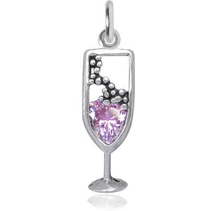 Pink Crystal Champagne Charm Sterling Silver