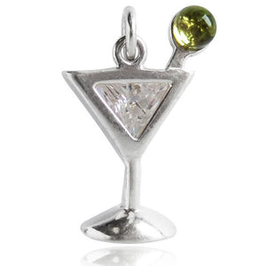 Sterling Silver and Crystal Martini Cocktail Drink Charm