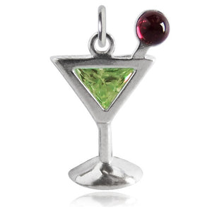 Sterling Silver Crystal Cocktail Drink Charm Pendant