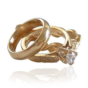 Set of Three Gold and Crystal Rings Charm