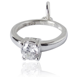 Solitaire Crystal Engagement Ring Charm Pendant | Charmarama