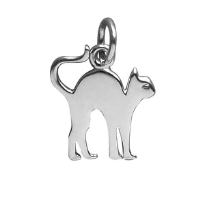 Cat Charm Sterling Silver Halloween Pendant | Charmarama