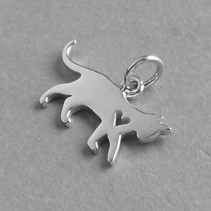 Walking Cat and Heart Charm Sterling Silver Pendant | Charmarama